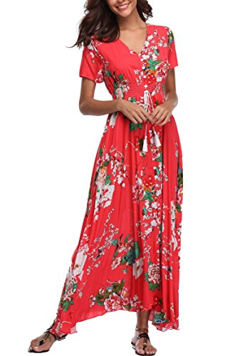 (VintageClothing Women's Floral Print Maxi Dresses Boho Button Up Split Beach Party Dress, Red, S)