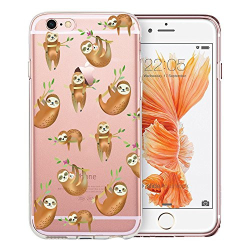 Unov Case Clear with Design Embossed Pattern Soft TPU Bumper Shock Absorption Slim Protective Cover for iPhone 6s iPhone 6 4.7 inch(Hanging Sloth)