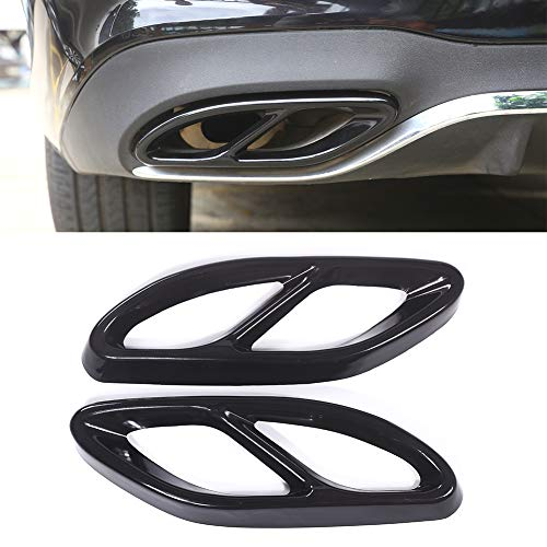 (Exhaust Tailpipe Cover Trim For Mercedes Benz GLC A B C EClass W205 Coupe W213 W176 W246 2016-19 Stainless Steel Car Accessory Styling (black))