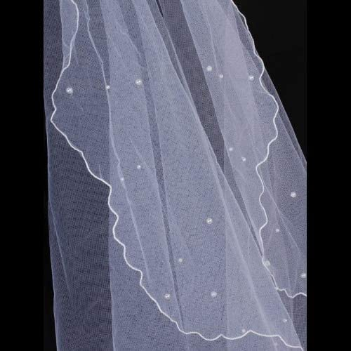 HOT Hot Single Layer Wedding Veil with Beading Style Lace Craft