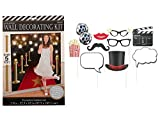 Set of 2 Amscan Hollywood Movie Premiere Scene Setter and Set of 10 Amscan Hollywood Movie Night Photo Booth Props bundled by Maven Gifts