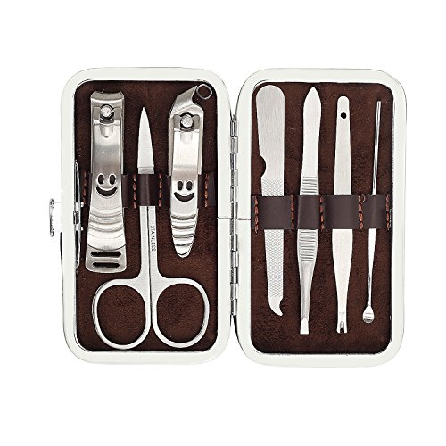 luxe Stainless Steel Manicure Pedicure Nail Clipper Kit Set with Travel Case ()