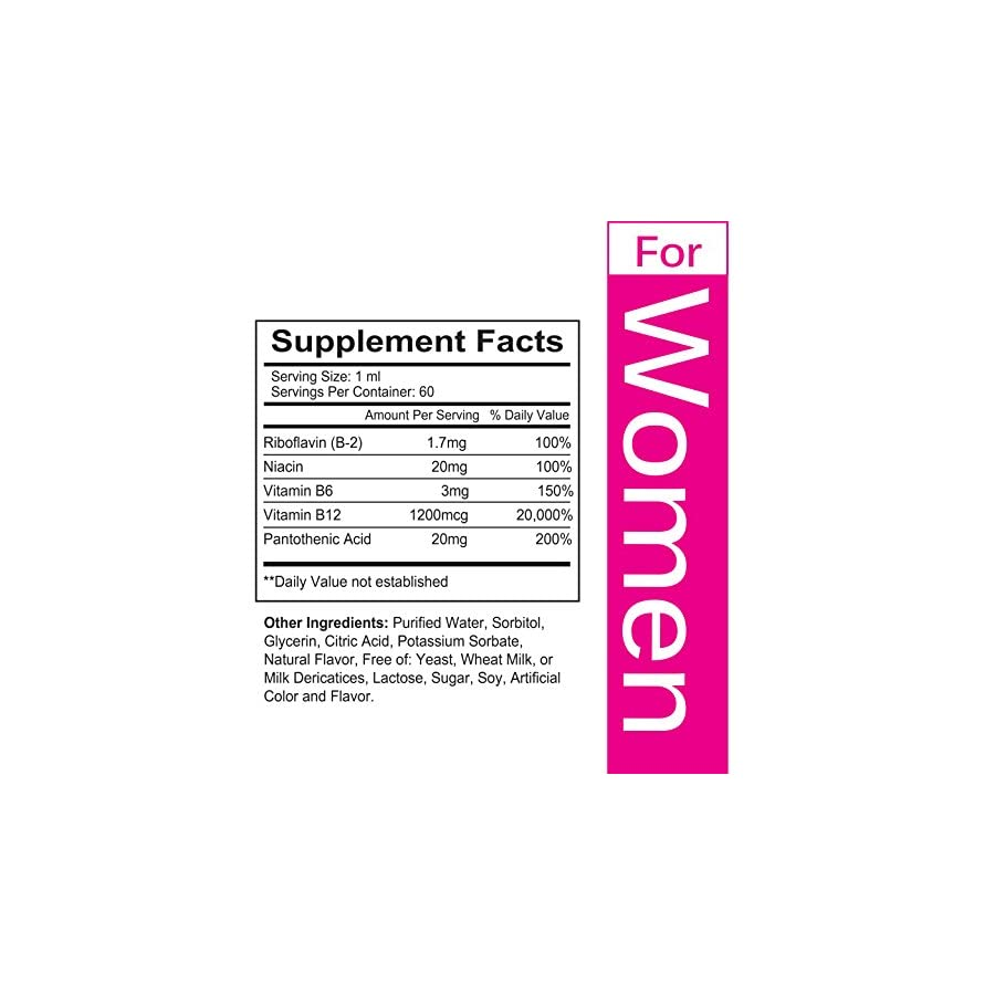 Vitamin B12 Liquid Drops for Women Superior Absorption to Increase Metabolism and Boost Energy Levels, Made in USA 2 Fluid Ounces