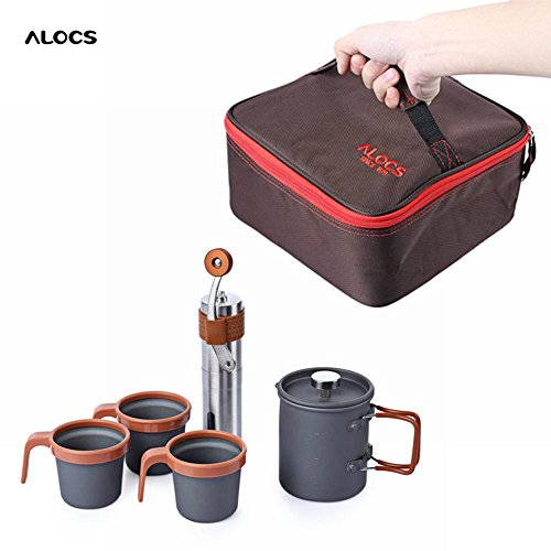 ALOCS CW - K10 Outdoor Home French Press Pot Kit Hand Manual Coffee Bean Mill Grinder to sell online