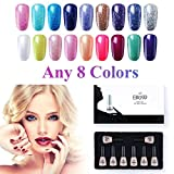 Elite99 Pick Any 8 Colors Soak Off Gel Nail Polish Top Base Coat Nail Art Manicure Set