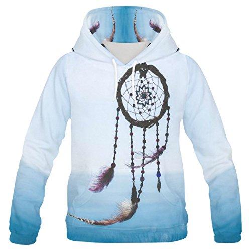 InterestPrint Custom Dream Catcher Bird Feather Teenager's Pullover Hoodies Sweatshirt S