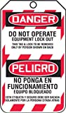 Accuform Signs TSP105CTP Spanish Bilingual Lockout Tag, Legend ''DANGER DO NOT OPERATE EQUIPMENT LOCK OUT/ PELIGRO NO PONGA EN FUNCIONAMIENTO EQUIPO BLOQUEADO'', 5.75'' Length x 3.25'' Width x 0.010'' Thickness, PF-Cardstock, Red/ Black on White (Pack of 25)