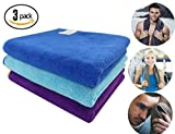 Sports Towel ForNeat Microfiber Towels Set, Multi-purpose Gym Towel, Extra Absorbent, Fast Drying & Antibacterial, for Workout, Fitness, Gym, Yoga, Travel, Camping & More(Dark Blue+Light Blue+Purple)