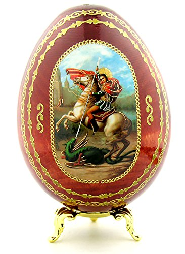 Icon George (Saint St George Icon Wooden Egg with Gold Egg Stand 4 Inch)