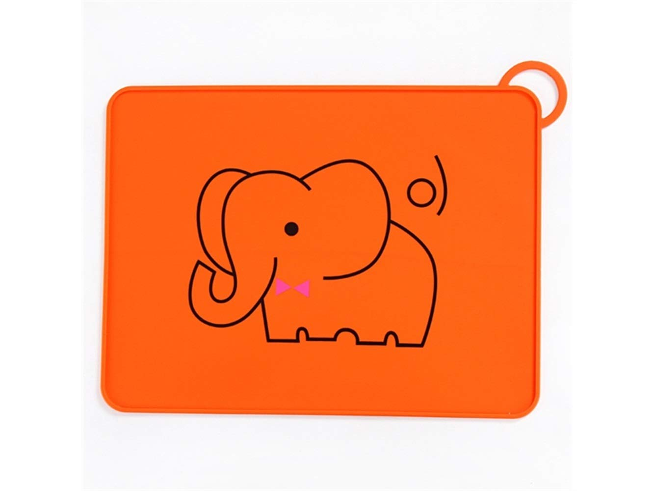 Yuchoi Contemporary Animal Pattern Baby Plate Silicone Baby Plates Stay Put Feeding Plate Dinner Plate Child Silicone Mat for Feeding Placemat for Most Highchair Trays(Elephant)