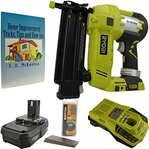Ryobi Nail Gun Bundle, One+ Airstrike 18 Gauge Brad Nailer with 18-Volt Lithium-ion Battery, Charger, 2 Inch Nail and Home Improvement Book