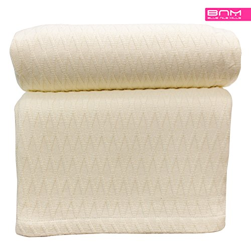 (Diamond Twin/Twin XL Cotton Throw Blanket, Breathable Thermal Bed/Sofa Blanket Couch, Snuggle in These Super Soft Cozy Cotton Blankets - Perfect for Layering Any Bed, Ivory)