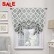 H.VERSAILTEX Beautiful Quatrefoil Dove Pattern Thermal Insulated Blackout Tie Up Panel, Rod Pocket Home Fashion Curtain for Small Window, W42 x L63 inch-Dove(Set of 1)