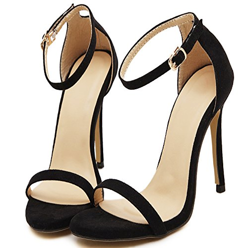 EU36 Avec Avec High Chaussures Ligne Femme Cravate Sandales Slotted Noire Dew SHOESHAOGE Heeled Fine t4OPtqw