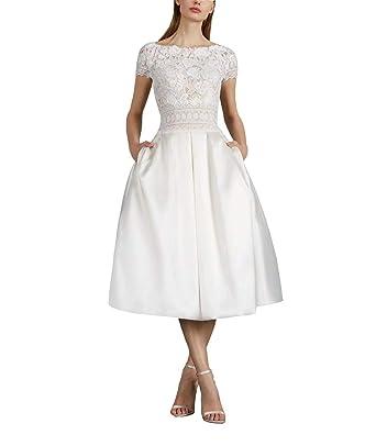 ad584a7a1eb5d Short Sleeve Tea Length Wedding Dresses Lace Bateau Wedding Gowns ...