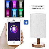 Cyber Monday Deals Day 2018-Smart Wifi Table Lamps Compatible With Alexa And Google Home, Wood Table Lamps For Living Room Google ho Bedroom Dimmable Multicolored Color Changing Christmas Party Lights
