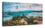 "coastal living rooms Canvas Wall Art Blue Ocean Seascape Painting Landscape Prints Modern Birds Coastal Wood Grain Peaceful Panoramic Modern Picture Large Size Framed for Home Office Living Room Bedroom Décor 48""x24"""