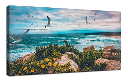 "Canvas Wall Art Blue Ocean Seascape Painting Landscape Prints Modern Birds Coastal Wood Grain Peaceful Panoramic Modern Picture Large Size Framed for Home Office Living Room Bedroom Décor 48""x24"""