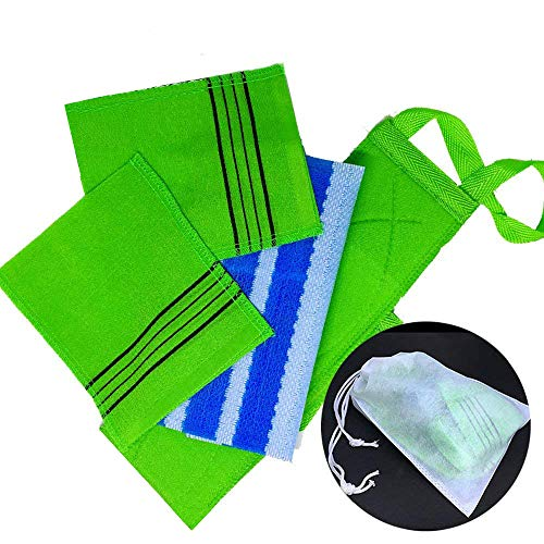 Original 5 Pcs Set Korean Japanese Style Exfoliating Long Back Scrubber, 2 Rough and Effective Body Scrub Gloves, Odor Free Gentle Shower Cloth and Non-woven Fabric Pouch (All Made in Korea)