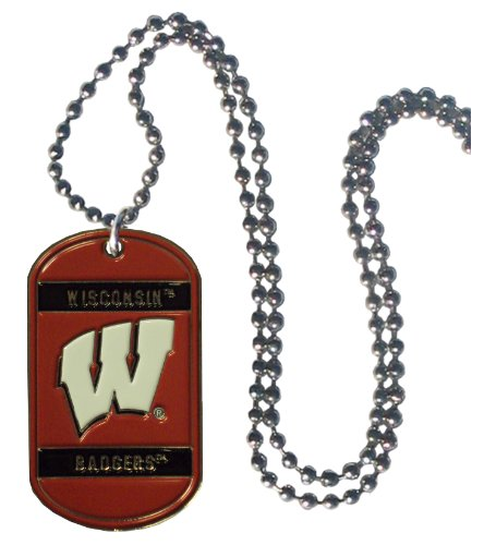 Ncaa Spirit Necklace - Simran NCAA Wisconsin Badgers Dog Tag Necklace