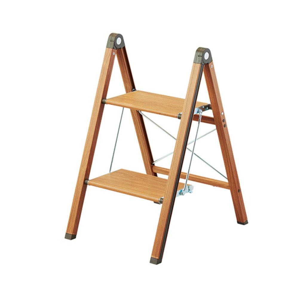 Escaleras plegables Escalera de paso plegable, Escalera de mano estrecha, Escalera de aluminio, Estante de flores, Escalera de escalada de dos capas ( Color : Brown , Size : 65*51*39cm )