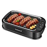 Techwood Smokeless Grill indoor Grill Power Electric Grill, Compact & Portable Non-stick BBQ Grill, Turbo Smoke Extractor Technology, LED Smart Control panel, Drip Tray& Removable Plate Easy Cleaning