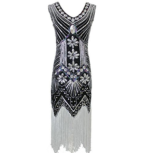 [Women's 1920s Gatsby Diamond Sequined Embellished Fringed Flapper Dress (L, Black)] (Vintage Paisley Print Costumes)
