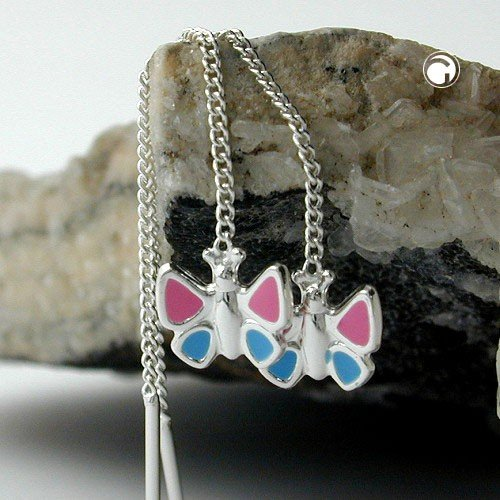 durchzieher papillon rose bleu véritable Argent 925enfants argent boucles d'oreilles