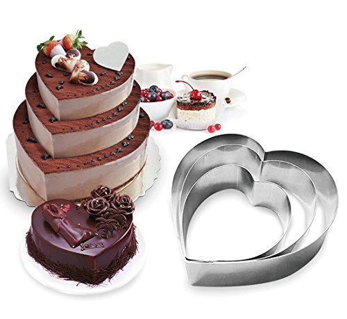 Funwhale 3 Tier Heart Multilayer Anniversary Birthday Cake Baking Pans,Stainless Steel 3 Sizes Rings Heart Molding Mousse Cake Rings(Heart-Shape,Set of 3) ()