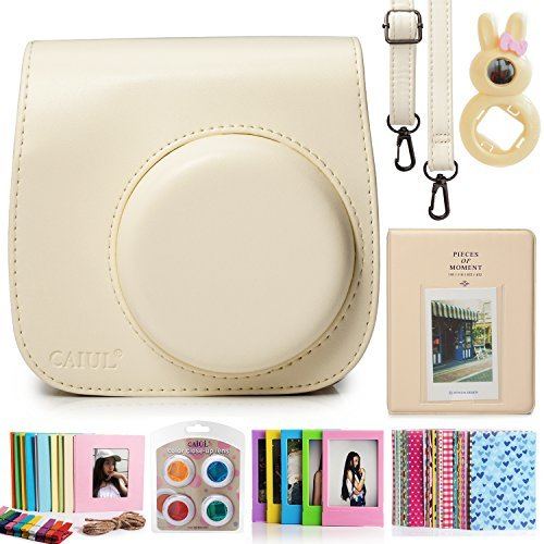 7 in 1 instax Mini 8 Instant Film Camera Accessories Bundles ( Yellow Instax Mini 8 Case/ Mini Album/ Close-Up Selfie Lens/ 4 colors Close-Up Lens/ Wall Hang Frames/3 inch Film Frame/ Film Stickers) by CAIUL