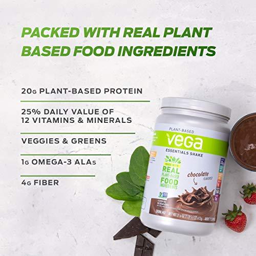Vega Essentials Protein Powder, Plant Based Protein Powder Plus Vitamins, Chocolate, 21.6 Ounce (17-18 Servings)