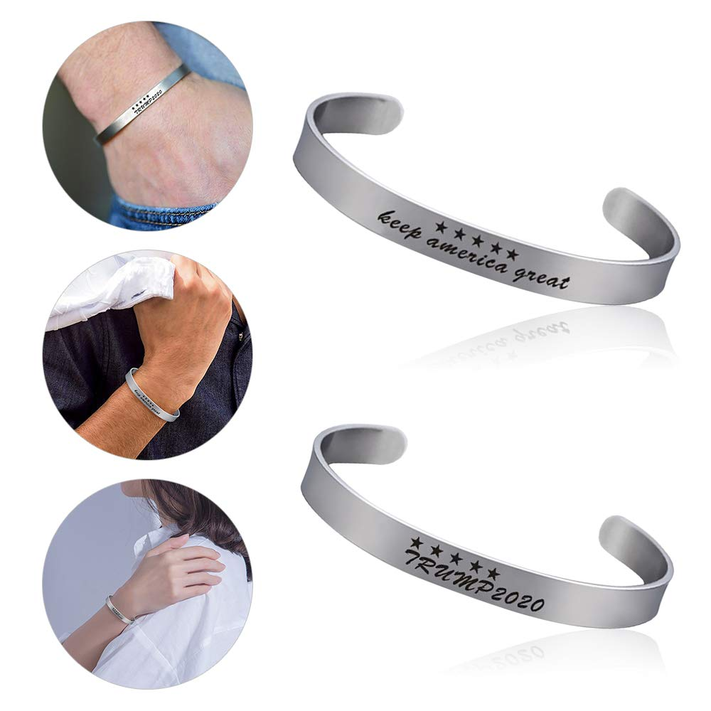 Keep America Great Stainless Steel Bracelet Gifts Impressed Statement Engraved Wristband for Women Men Support Donald ASKCUT Trump 2020 Inspirational Cuff Open Bracelet