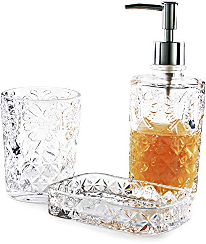 (Circleware 32458 Paplillon Bath Collection Home Decor Bathroom Accessories, 3-Piece Set of 12 oz Soap Dispenser, 10 oz Tumbler and Soap Dish, Clear )