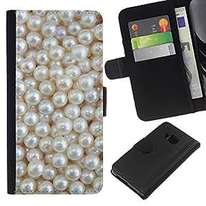 WINCASE Cuadro Funda Voltear Cuero Ranura Tarjetas TPU Carcasas Protectora Cover Case Para HTC One M9 - blanco perla rica joya joya