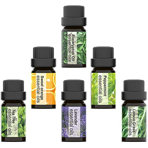 Aromatherapy Essential Oils Set, Iextreme Organic 100% Pure and Natural - Lavender, Tea Tree, Eucalyptus, Lemongrass, Orange, Peppermint - 6 Bottles/ 0.34oz Each