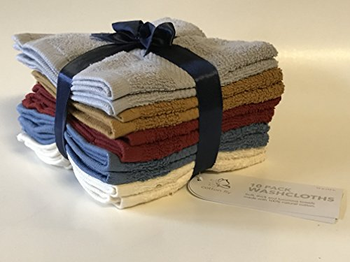 100% Cotton WashCloth(10Pack,Size 12 x 12 Inch) Soft and Absorbent, Machine Washable, Assorted Colors