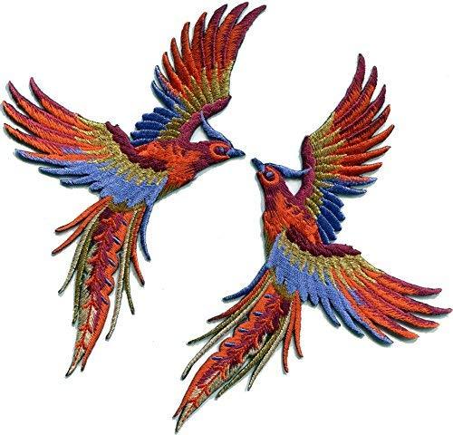 Phoenix phenix birds orange wine blue gold embroidered appliques iron-on patches pair S-1336 (Lower Bird)