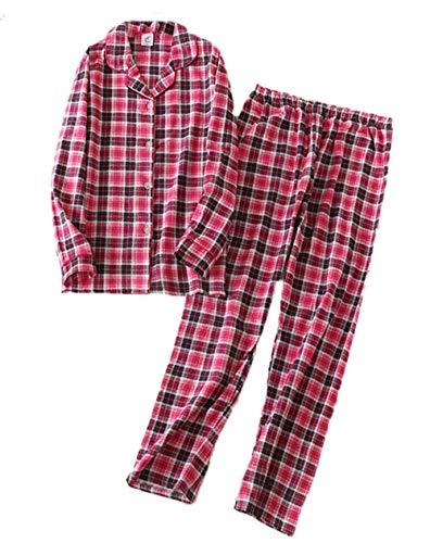 Sanmadrola Women's Cotton Sleepwear Long Sleeve Pajama Set SY254-Hot Pink-L ()