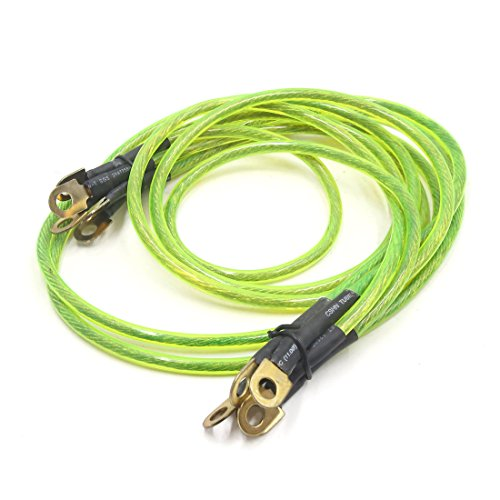 uxcell 5-Point Battery Grounding Earth Cable Wire System Kit Green for Car Vehicle -