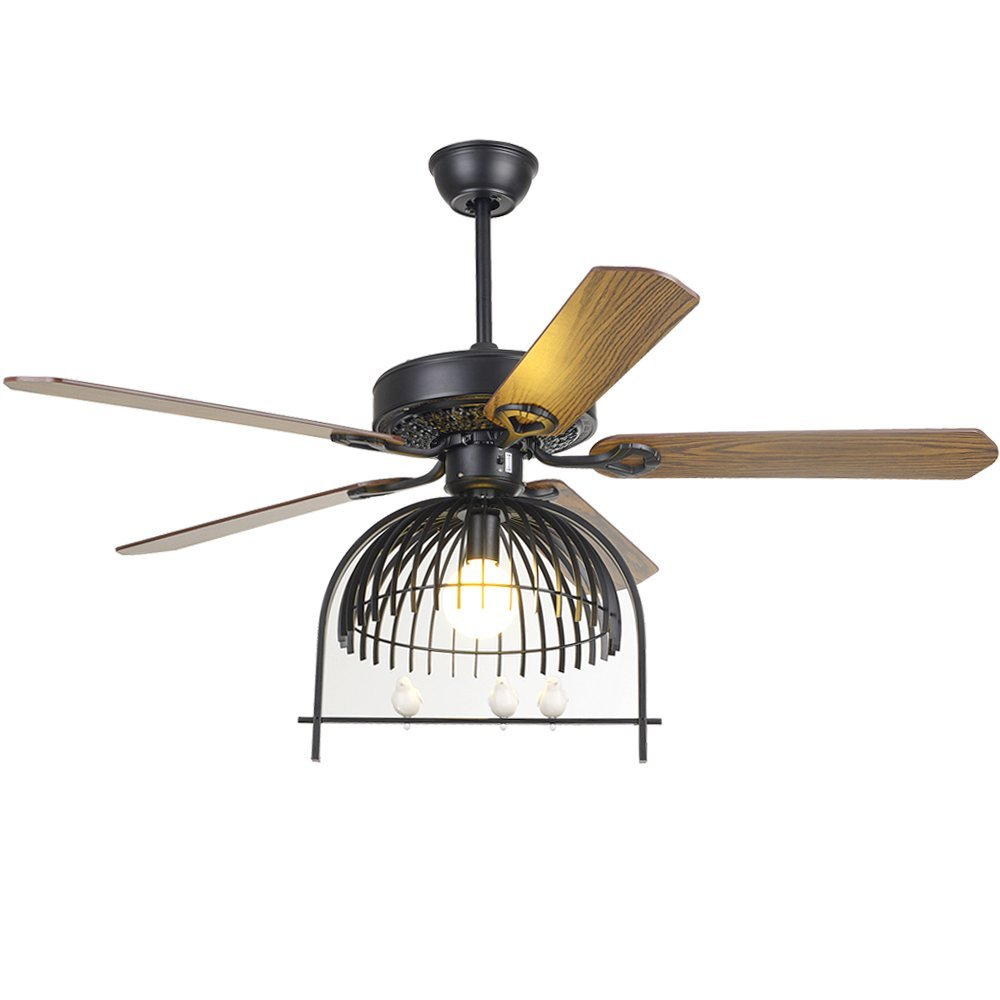 Andersonlight LED Ceiling Fan Light Kit 5 Brown Wooden Blades Adjustable Speed Dimmable Brown Metal 52 inch