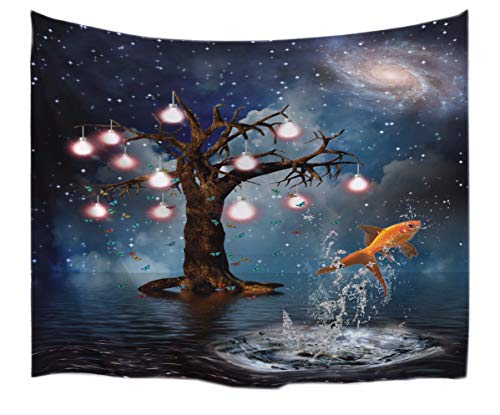 A.Monamour Halloween Themed Enchanted Tree Starry Sky Galaxy Fish Jumping Water Art Picture Print Textile Tapestry Wall Hanging Decorations for Dorms 153x102cm/60 x40 -