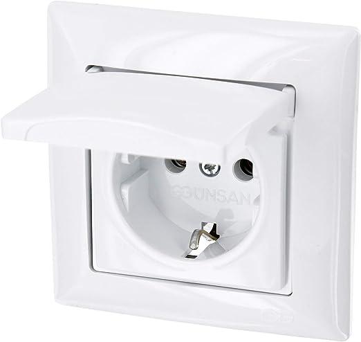 Enchufe con tapa todo en uno, con marco, con caja para empotrar y cubierta (Serie G1 color blanco): Amazon.es: Iluminación