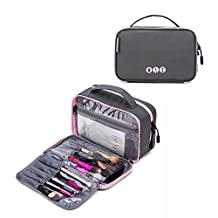 BAGSMART Compact Cosmetic Bag Clear Makeup Bag for Brushes Small Portable Travel Toiletries Bag Organizer for Women, Gray and Pink