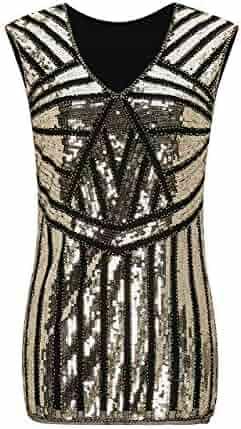 fd56084459d6e8 Metme Women V Neck Slight Loose Flashy Sequin Sparkly Vest Tops Tank Tops