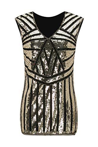 Beaded V-neck Blouse - Metme Vintage 1920s V Neck Slight Loose Flashy Beaded Sequin Vest Tops Tank Tops For Women,Black,Large