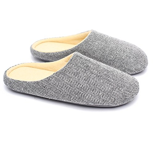 Ofoot Mens & Womens Japanese House Rubber Sole Slippers Shoes,Cooling Fabric Cotton Terry Lining Slip On Slipper Socks(5-6 (BM) US, Grey)