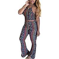 OLUOLIN Women Sexy Halter Colorful Stripe 2 Piece Outfits Jumpsuit Crop Top + Wide Long Pants Set