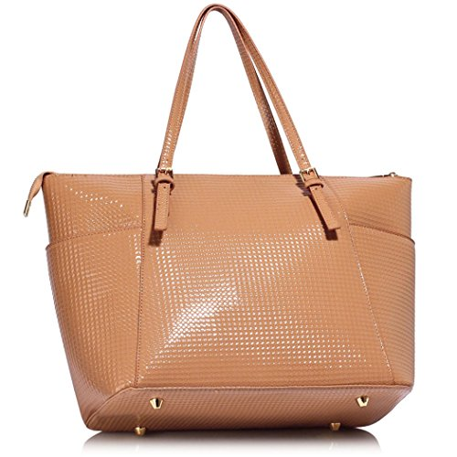 Oversize Patent Shoulder Handbags Bag Shoulder Women Shopper Women's CW30 Bags Quality Leather LeahWard Pink Holiday For Faux School Bag Nude CqBxdBwS