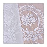 Aside Bside Sheer Curtains Rod Pocket Top Bouquet Mirror Jacquard Transparent Window Decoration Victorian Style For Sitting Room Kitchen and Houseroom (1 Panel, W 52 x L 84 inch, White)
