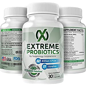 Extreme Probiotics with 50 Billion CFU & 11 Strains - High Potency - Vegan Probiotic Capsules - Dr Rated Best - Probiotic Health Supplement - Immune System & Weight Loss Support for Men & Women
